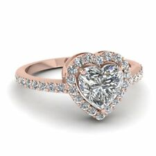 1.5ct Heart Cut VVS1/D Diamond Engagement Solitaire Ring Love Gift 14k Rose Gold