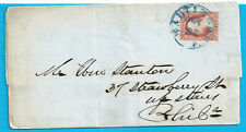 US #11A ON FOLDED SHORT LETTER- BLUE BALTIMORE CANCEL 1853