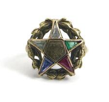 Vintage Eastern Star Multicolored Gemstone Ring, 10K Yellow Gold, Size 9, 5 Gram