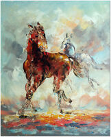 Hand Painted Modern Impressionist Horse Oil Painting On Canvas Wall Art 16x20""