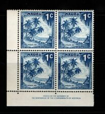 Nauru 1966 1c Anibare Bay imprint block Sg66 Mnh