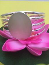 White Mother Of Pearl Oval Sterling Silver Cuff Bracelet - Healing - Protection