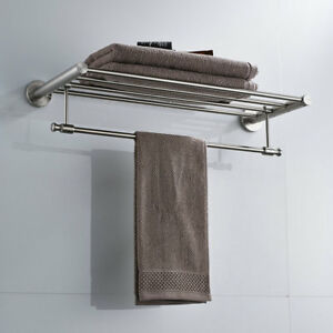 Bath Towel Racks Multi Row Brushed Nickel Stainless Steel Wall Mount Accessories