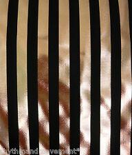 Dance Costume Lycra Fabric Black and Gold Foil Stripe 50cm - 150cm wide
