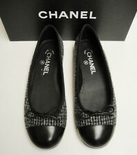 Chanel Classic CC Logo Black Tweed Leather Ballerina Ballet Flats Shoes 37