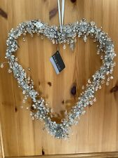 Large Hanging Heart With Crystals Leaves And Beads Shabby Chic Wedding Love