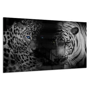 Tempered Glass Photo Print Wall Art Picture B&W Tiger Panther Cat Prizma GWA0344