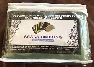 Scala Bedding 2 Pc King Pillow Shams Sage Green 800 TC Soft 100% Egyptian Cotton
