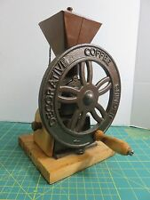 Unique Cast Iron Hand Crank Wheel Decorative Coffee Grinder Mill Box Wood Base