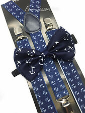 Matching Blue Anchor Design Bow Tie & Suspender Set Tuxedo Wedding Accessories