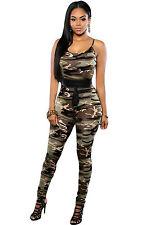 Abito tuta aperto Nudo scollo aderente Stampa Mimetica Military Camo Jumpsuit S