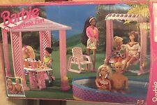 Barbie Summertime Fun Pool Patio Set Table Chairs 1995 W Box 67034 Mattel Garden