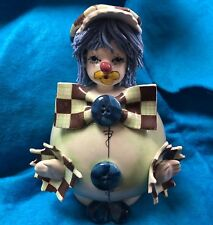 Vintage Zampiva Spaghetti Blue Hair Clown 2 button Figurine