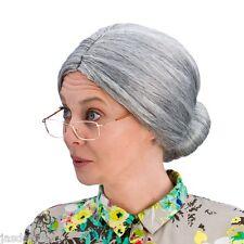 Nonna Chignon Parrucca Costume Vecchia Donna Grigio segretario NONNA Strega Cattiva