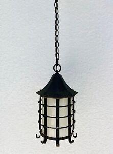 Moe Bridges Antique Hanging Porch Light Arts & Crafts Gothic Nautical Cast Iron