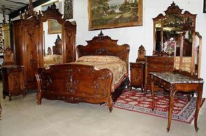 Antique Country French Louis XV Carved Walnut 6 Piece Queen Cherub Bedroom Set