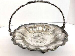 """Antique Pairpoint Silver Quadruple Plate Brides Basket Bowl Candy Dish Floral 9"""""""