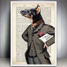 DOG DRESSED ANIMAL ART PRINT DOBERMAN DICTIONARY STYLE BOOK PAGE LEATHER COLLAR