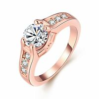 Classic 18k 18CT Rose Gold Filled GF Ring CZ Woman Size7, 8 R-A326