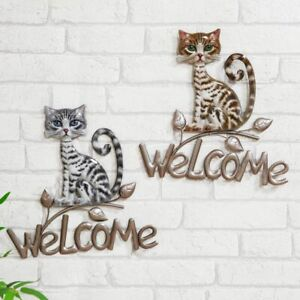 Metal Welcome Wall Hanging Sign CAT  - Choice of Colour