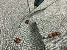 VTG John Alexander Herringbone WOOL Tweed Jacket Sport Coat Leather Buttons 44