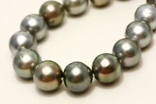 Tahiti Pearl Necklaces 12-14mm Gray Color Silver