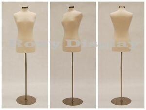 HIGH QUALITY! Size 6-8 Female Mannequin Dress Form  #F6/8W+BS-04 Metal Base