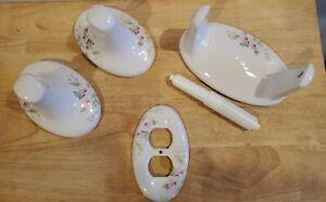 Pink Flowers Porcelain Bathroom Fixtures - 5 Pc Set - Very Pretty!