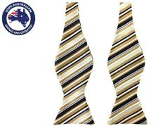 Men's Bowtie Brown Blue Stripes Formal Wedding Groom Tuxedo Self Tied Bow Tie