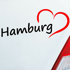 Auto Aufkleber Hamburg ca. 19x8cm HH Herz Heart City Stadt Sticker 684