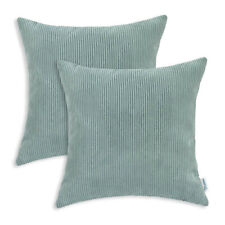 Pack of 2 Square Pillows Cases Cushion Covers Corduroy Stripes 45X45cm Duck Egg