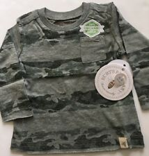 Burts Bees Organic Baby Camo Stripe Pocket Tee Shirt Top Size 6-9 Months Green