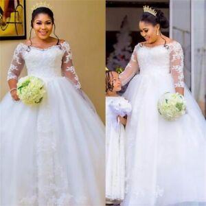 Vintage Boat Neck Lace Wedding Dresses Plus Size Bridal Gowns Vestido De Novia