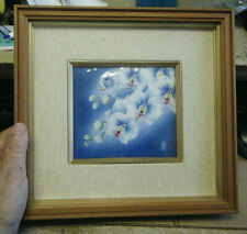 VTG JAPANESE ENAMELED FRAMED SILVER PLAQUE SIGNED GUILLOCHE ORCHID WALL PLAQUE