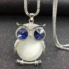 Crystal Owl Rhinestone Necklace & Pendant Long Sweater Chain Jewelry Fashion UK White