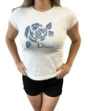 Auténtico Christian Dior Vintage Logo Camiseta #12A Denim Algodón Blanco Rankab