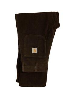 RARE Vintage Carhartt Dark Brown Cord Carpenter Trousers Pants Skate 29 W 32 L