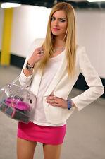 Nuovo con etichette Zara Neon Rosa Caldo Colore Blocco Body con Mini Gonna Stretch S Small 8 4 36