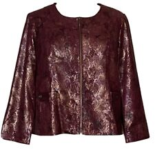 Susan Graver Snake Printed Jewel Neck Zip Front Jacket Burgundy Red Gold Foil 2X