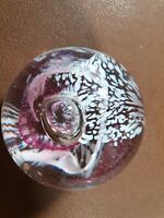 Caithness Glass Paperweight Moon crystal Ornament Pink &white signed collectable