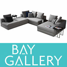 Modern Grey Fabric Corner Chaise Lounge Suite Sofa Large Couch Furniture Setting