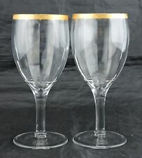 ANTIQUE TIFFIN OPTIC PORT WINE GLASS PAIR GLASSWARE STEMWARE GOLD RIM