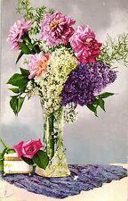 Fiori, vaso di fiori, garofani, rose, 1935