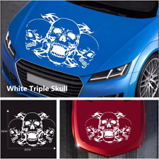 39x60cm Car Hood Triple Skull Graphics White Vinyl Decals Stickers Accessories