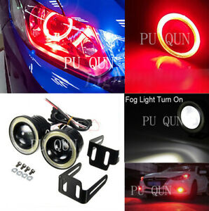 2x Car 2.5in COB LED Fog Light Projector+Red Halo Angel Eyes Ring DRL Bulb
