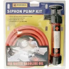 "New Hand Siphon Pump Kit Transfer Oil Air Water Fuel Syphon 50"" Hoses"
