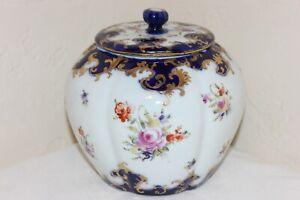 Gorgeous Antique Nippon Hand Painted Biscuit Cracker Jar, Cobalt Blue, Flowers