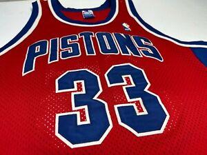 VTG Champion USA Detroit Pistons GRANT HILL #33 Authentic Sewn NBA Jersey Sz 44