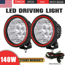 140W Pair 7inch Cree Round LED Driving Lights Work Spotlights Black Offroad ATV