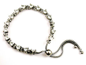 Adjustable link bracelet or anklet lots of cz or glass stones pull cord pretty